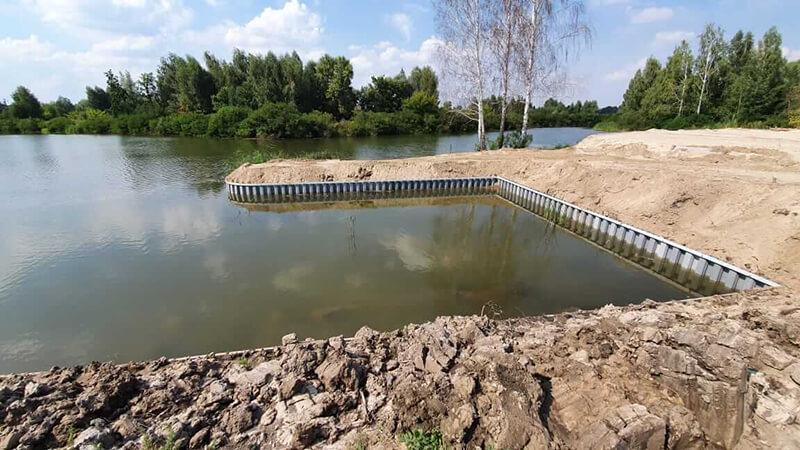 Укрепление берега шпунтом в селе Козин