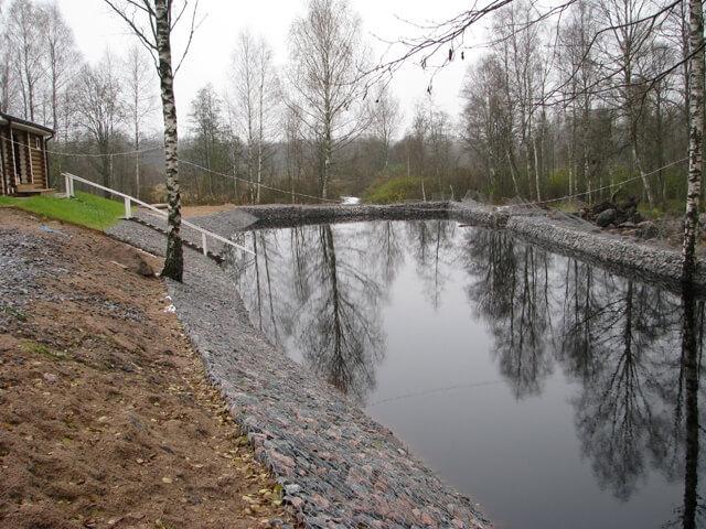 габионы укрепление берега пруда